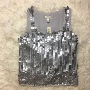 Ann Taylor LOFT Grey Sleeveless Sequins Blouse